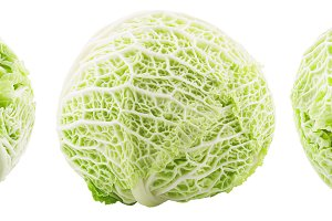 Isolated three whole savoy cabbage