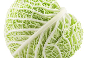 Green whole savoy cabbage on white