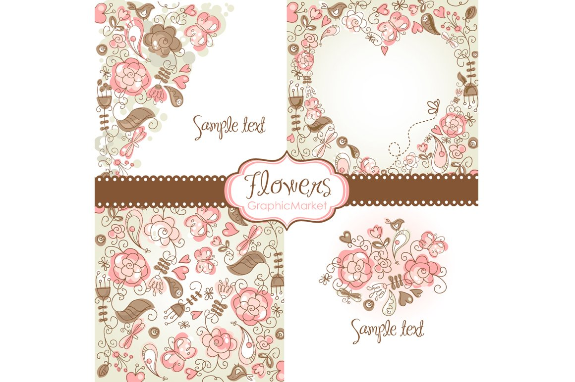 4 floral template designs clipart illustrations creative market