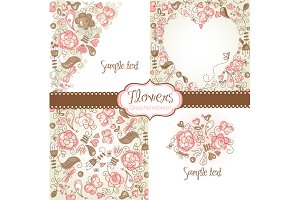 4 Floral template designs - Clipart