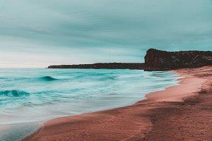 Orange and Teal Beach Landscape