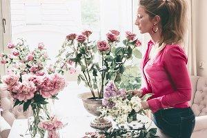 Women arranging flowers bouquet