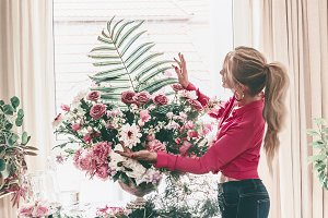 Women arranging luxury bouquet
