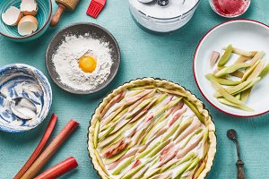 Rhubarb tart ready for bake