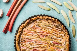 Baked homemade pie with rhubarb