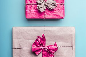Gift boxes in wrapping paper