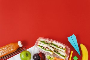 Top view healthy school lunch box
