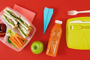 Healthy lunch boxes Flat lay