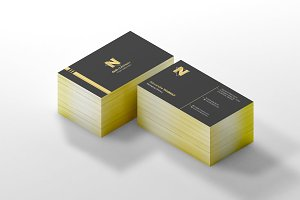 Business Card Mock-Up 2 Gold edge