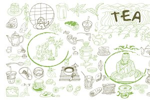 Sketch Traditional Tea Elements Set