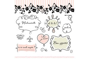 French Frames clip art with patterns