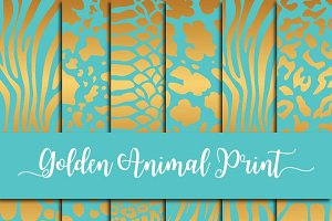 Golden Animal Print on Teal