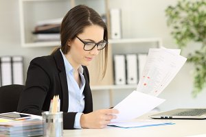 Office worker wearing eyeglasses