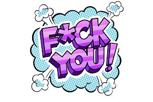 Swear word sign comic book pop art vector