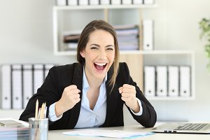 portrait of an excited executive