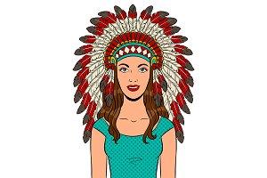 Woman in Indian headdress pop art vector