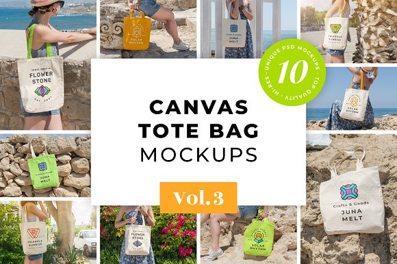 Download Canvas Tote Bag Mockups Pack Vol. 3