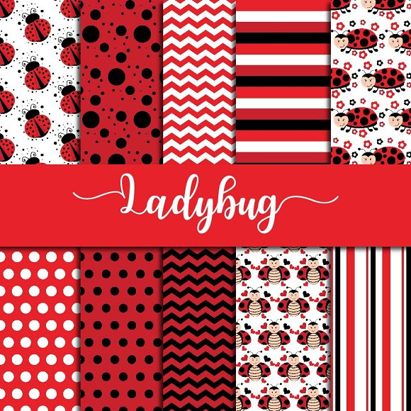 Cute Ladybug Digital Paper