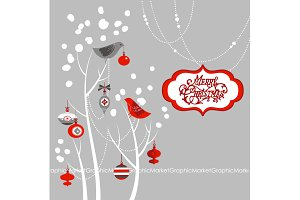 Christmas Clip Art, birds, tree