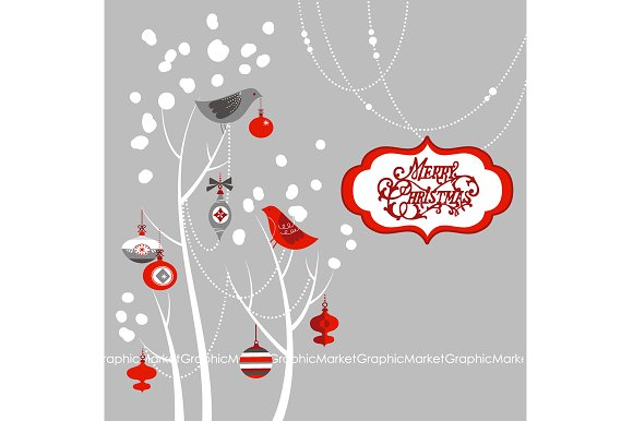 Christmas Clip Art, birds, tree ~ Illustrations ~ Creative Market