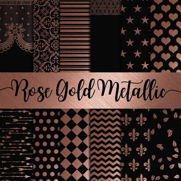 Rose Gold Metallic Digital Paper