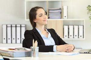 Proud office worker looking away