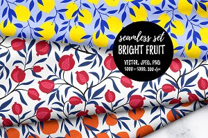 Bright FRUIT - Seamless patterns
