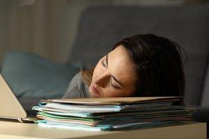Tired self employed sleeping