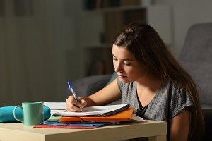 Studious student doing homework