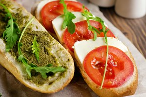 Sandwich with tomato and mozzarella.