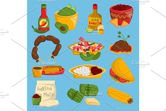 Mexican Traditional Vector Food Cuisine Meat Avocado Tequila Corn And Spicy Pepper Salsa Mexico Lunch Sauce Cuisine Illustration Isolated On Background