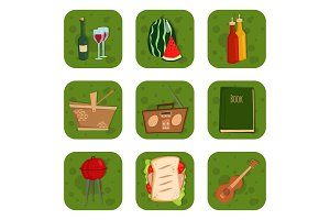 Barbecue party products BBQ grilling kitchen outdoor family time cuisine lunch vector illustration
