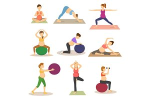 Fitness pregnancy vector pregnant woman character does yoga or exercises with fitball illustration set of expecting mother with big tummy in sport gym isolated on white background