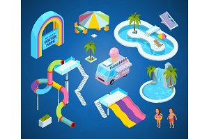 3D pictures of water park attractions