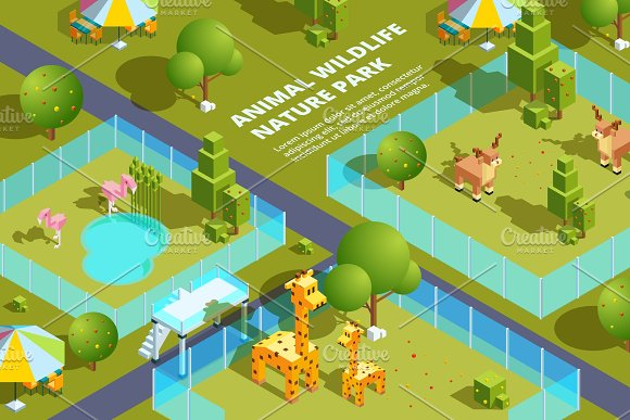 Landscape Of Zoo With Various Animals Stylized Vector Isometric Illustrations