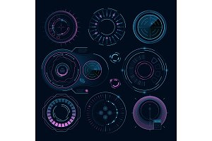 Futuristic digital graphics. Hud radial shapes for web interface