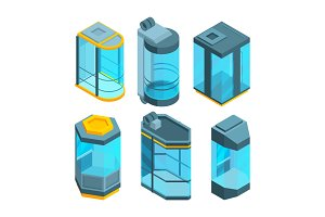 Various glass elevators with steel gates and panels. Isometric vector pictures