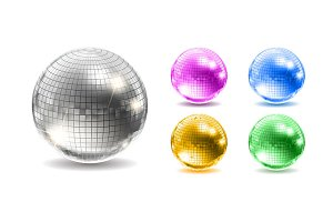 Set of disco balls. Disco background