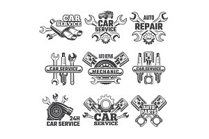 Vintage labels set with illustrations of automobile tools