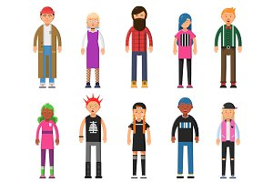 Funky young people. Hipsters characters male and female