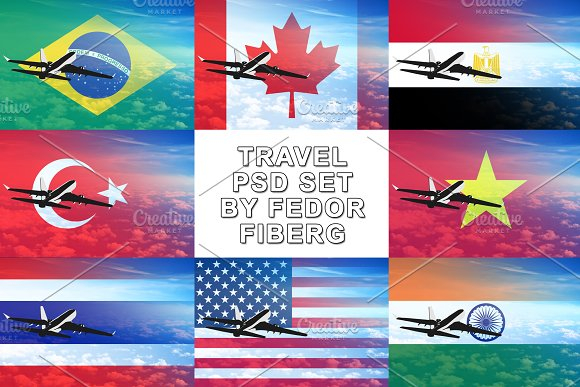 Big Travel Countries PSD Set