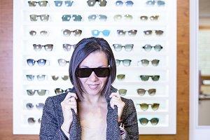 posing at the optical shop