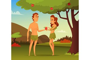 Background picture of Biblical story. Temptation Of Adam. Illustration of first man and woman