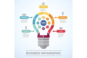 Infographic concept with stylized picture of lighting bulb. Graphic visualization of five steps to success