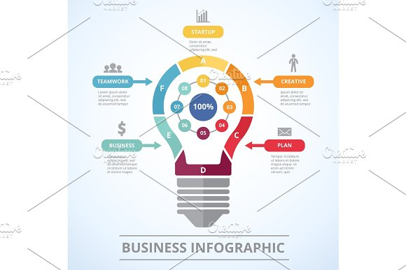 Infographic Concept With Stylized Picture Of Lighting Bulb Graphic Visualization Of Five Steps To Success