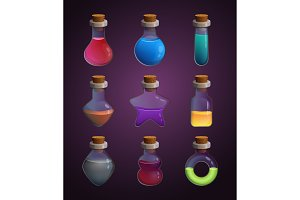 Glass bottles at different shapes with various liquid poison. Tools for game design projects