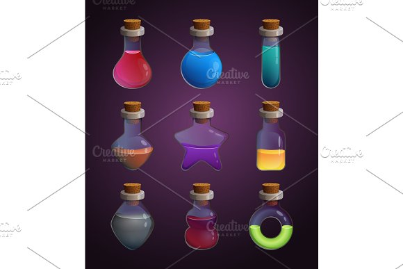 Glass Bottles At Different Shapes With Various Liquid Poison Tools For Game Design Projects