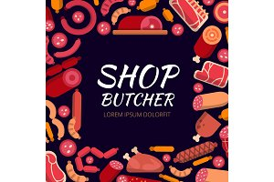 Background illustrations for butcher shop. Various pictures of meat