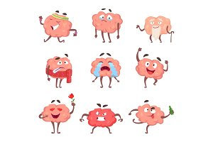Funny cartoon characters. Brain in action poses