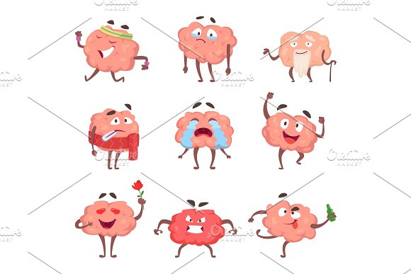Funny Cartoon Characters Brain In Action Poses